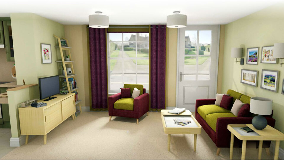 the living room layout of dementia house
