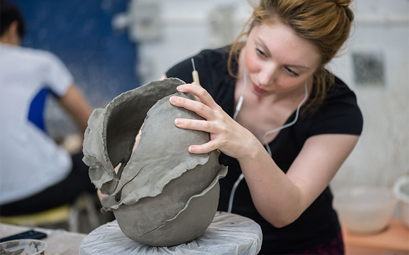 Student during pottery class