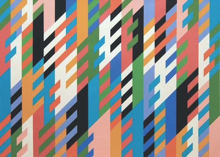 Bridget Riley's New Day. An abstract work with vertical and diagonal lines and vibrant colours.