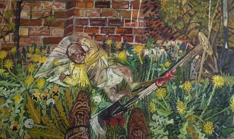 Baby Asleep in the Garden by John Bratby: semi-realist oil on board of baby sleeping in basket by garden wall