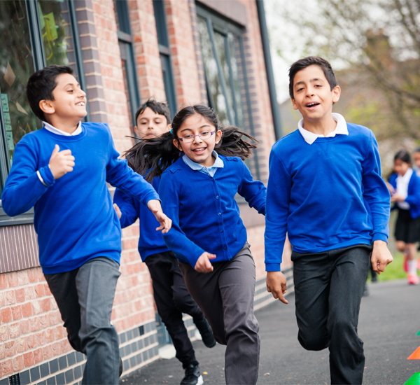 children running at school