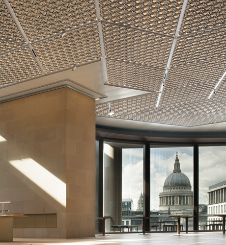 Photograph of an SAS International ceiling in a London building - St Paul's dome is visible through the window in the background