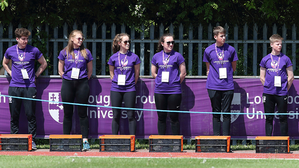 students in a line during an athletics competition