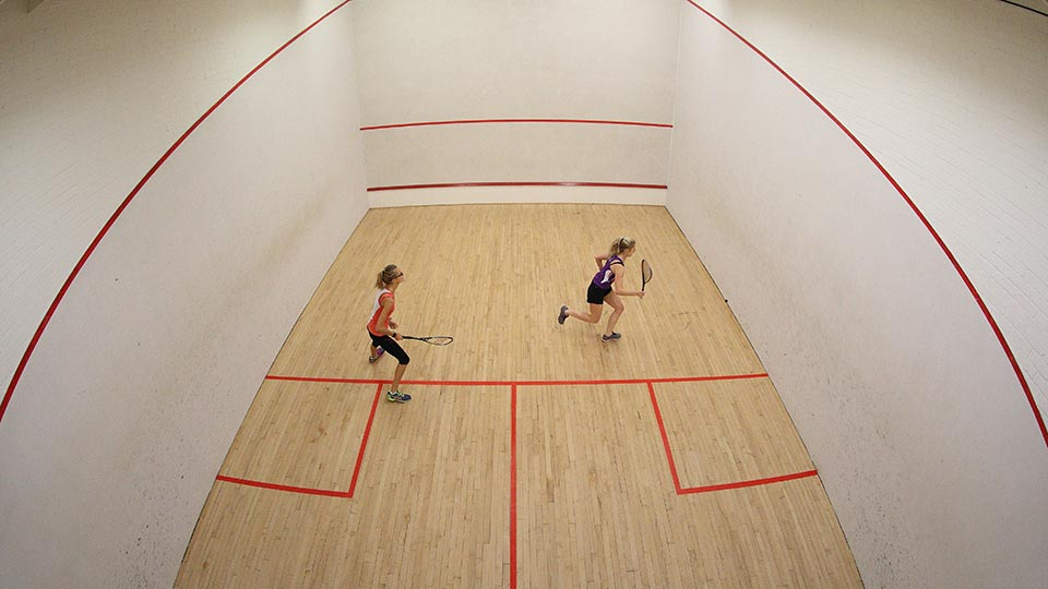 Squash game in action
