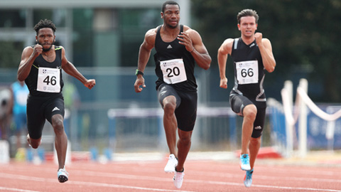three athletes running