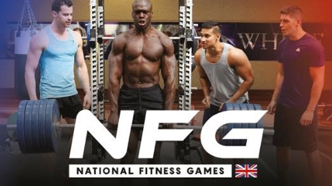 a group of people in a gym with the text, NFG, National Fitness Games. Are you the UK's fittest team