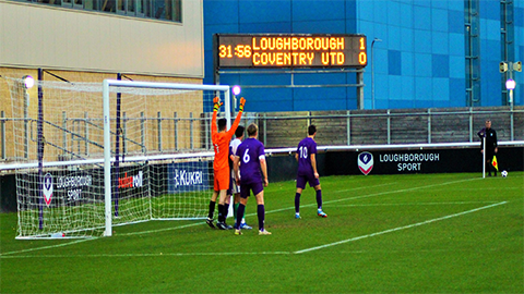 Loughborough University were leading 1-0 before the game was abandoned in the 49th minute.