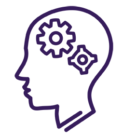 Line drawing of a head with cogs inside