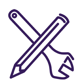 Spanner and pencil icon