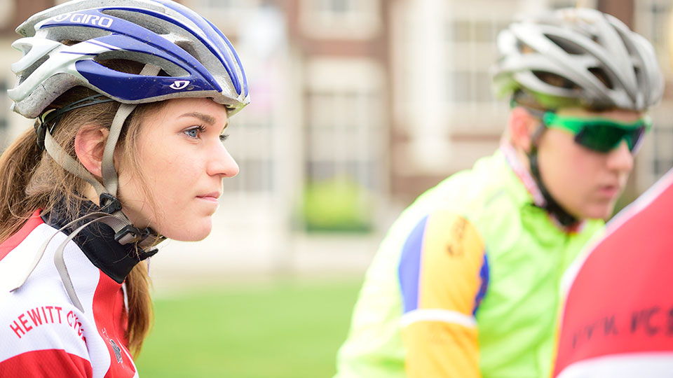 Postgraduate students on bikes, taking advantage of the sporting opportunities available.