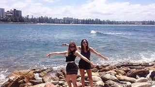Gemma with her friend studying abroad in Australia