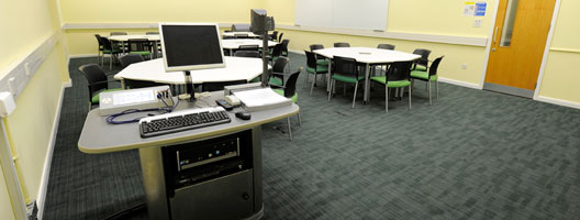 Teaching room with computer and sound equipment