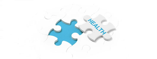 Jigsaw piece that reads health