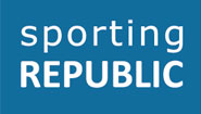 Sporting republic's logo comprising the company name in white against a blue background