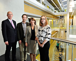 Pictured from the left are Professor Robert Allison, Professor Neil Mansfield, Nicky Morgan MP and Dr Elaine Yolande Gosling.
