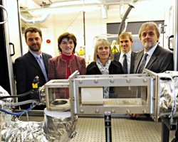 Pictured L to R: Peter Dodd, ETI's Director of Stakeholder Relations, MP Nicky Morgan, Professor Myra Nimmo, the University's Pro Vice Chancellor for Research, Steve Faulkner, Caterpillar's Strategy Manager, Research and Advanced Engineering and University project leader Professor Graham Hargrave.