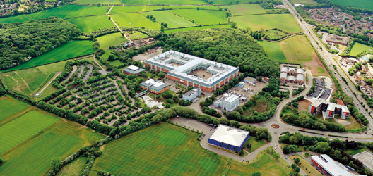 Aerial shot of Holywell Park/ Science & Enterprise Park