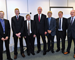 Pictured left to right: Dr Liam Blackwell EPSRC, Matthew Lodge EPSRC, Professor David Parish, Dean of School of Electronic, Electrical and Systems Engineering, Professor Robert Allison, Vice-Chancellor Loughborough University, Professor Jonathon Chambers Director LSSC Consortium, Professor Andrew Baird Dstl and Robert Elsley Dstl.