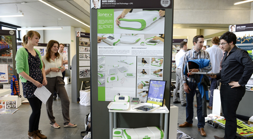 Students by display boards