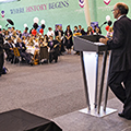 Summer graduation 2014 with Dean Angus Laing at the podium