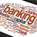 On screen wordcloud featuring 'banking'
