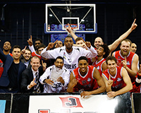 The Riders celebrating their BBL Trophy win
