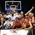Leicester Riders team celebrate their BBL Trophy win