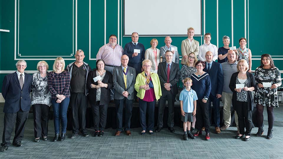 Recipients of awards with University staff at Loughborough Town Hall