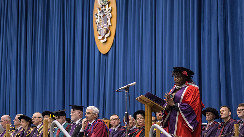 Pictured is Dr Maggie Aderin-Pocock speaking at the graduation ceremony.