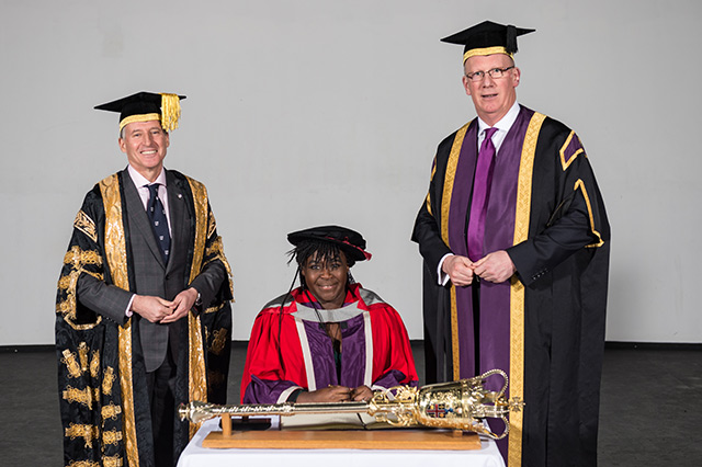 Pictured, from left to right, are Loughborough University Chancellor Lord Sebastian Coe, Dr Maggie Aderin-Pocock MBE, and Professor Robert Allison, Vice Chancellor of Loughborough University.