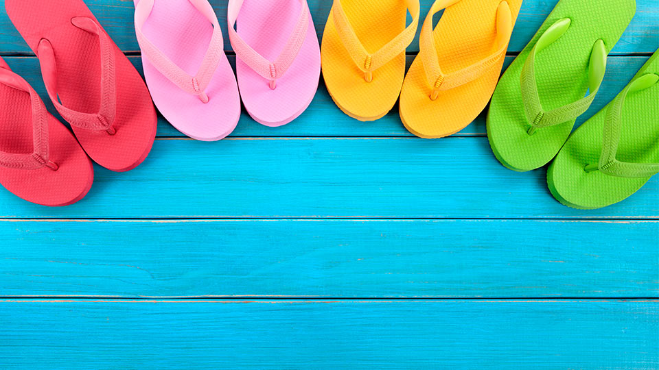 Pictured are different coloured flipflops.