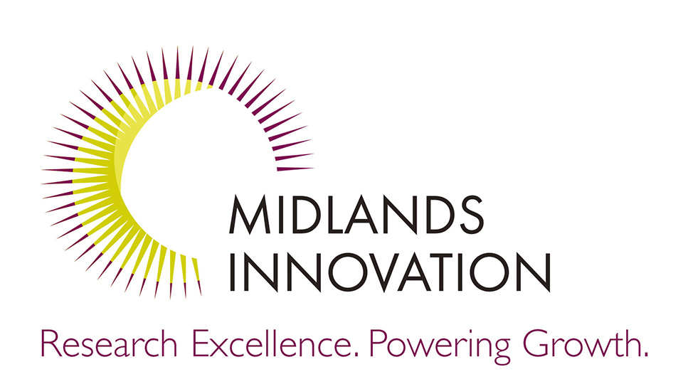 "Pictured is the Midlands Innovation logo which features a sun graphic and the strap line ""Research Excellence. Powering Growth."""
