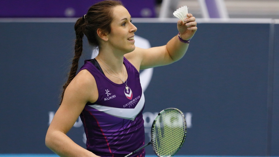 Chloe Birch holding badminton racket and shuttlecock
