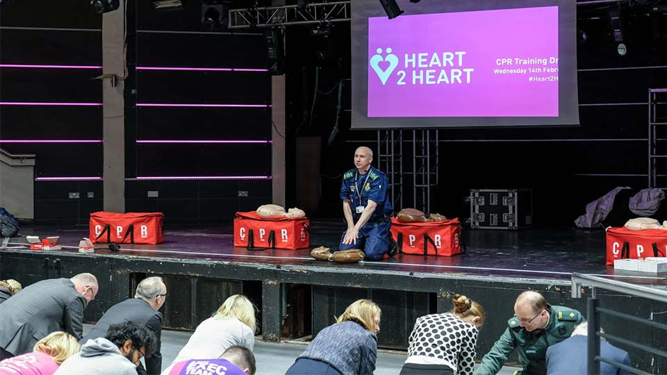Pictured is Andy Stephens teaching CPR at the Heart 2 Heart event.