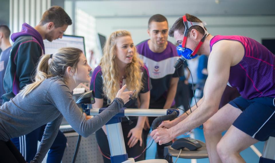 students conduct testing in a sports science lab at Loughborough University