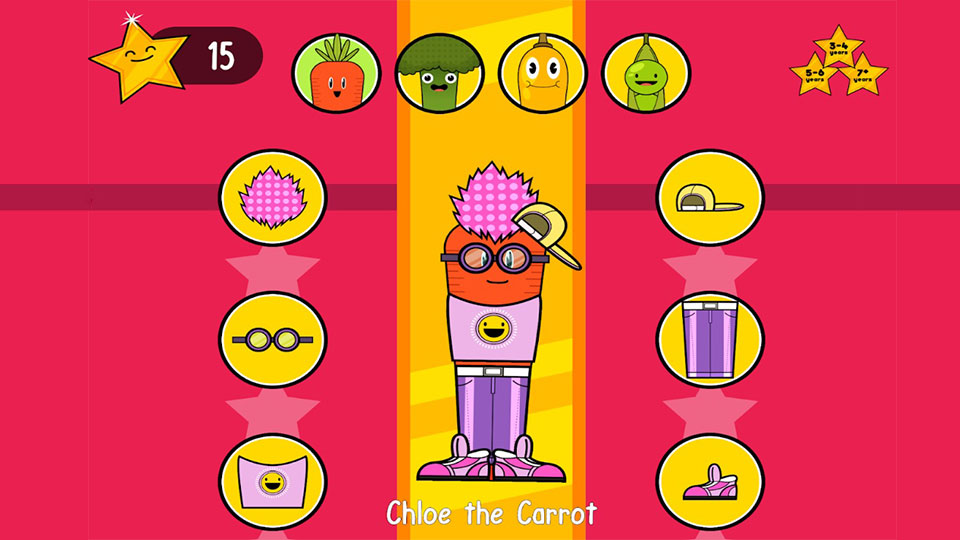 Pictured is Chloe the Carrot - a character on the Vegetable Maths Masters game.