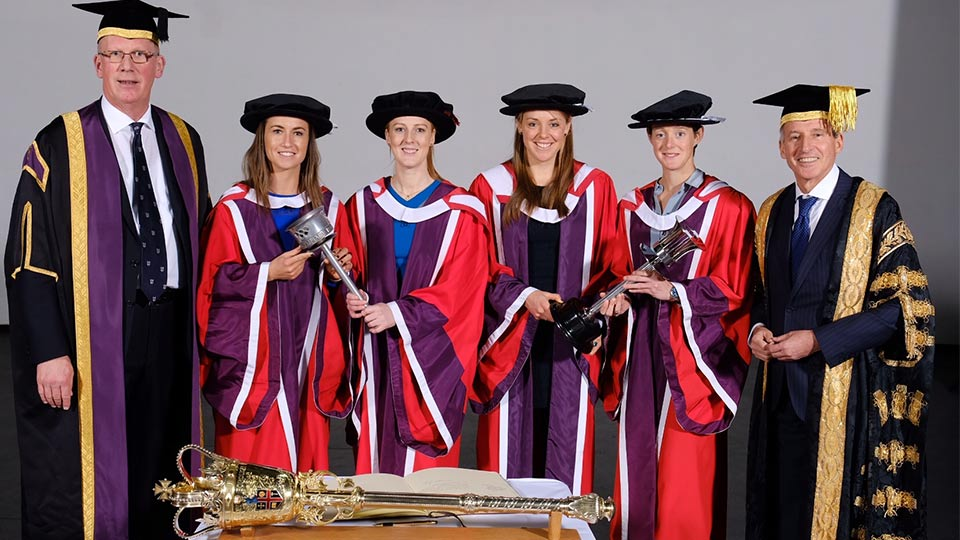 Dr Hannah MacLeod, Madeleine Hinch, Nicola White and Giselle Ansley collected Honorary degrees from Loughborough University during the winter graduation ceremonies.