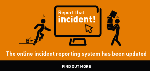 graphic used to promote incident reporting system in orange and black
