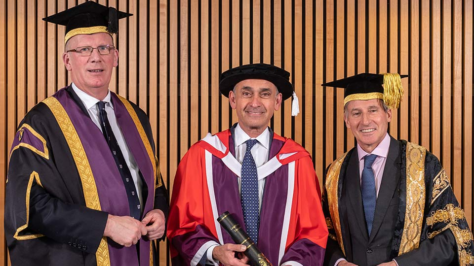 Pictured is Vice-Chancellor of Loughborough University Professor Robert Allison, Professor the Lord Darzi of Denham and Lord Sebastian Coe, Chancellor of Loughborough University.