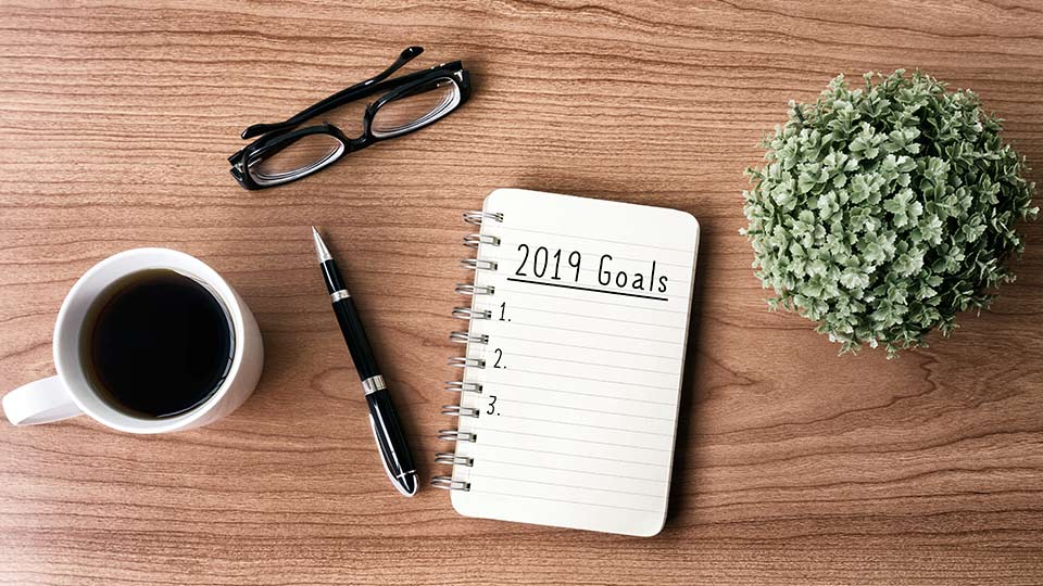 2019 goals notepad.