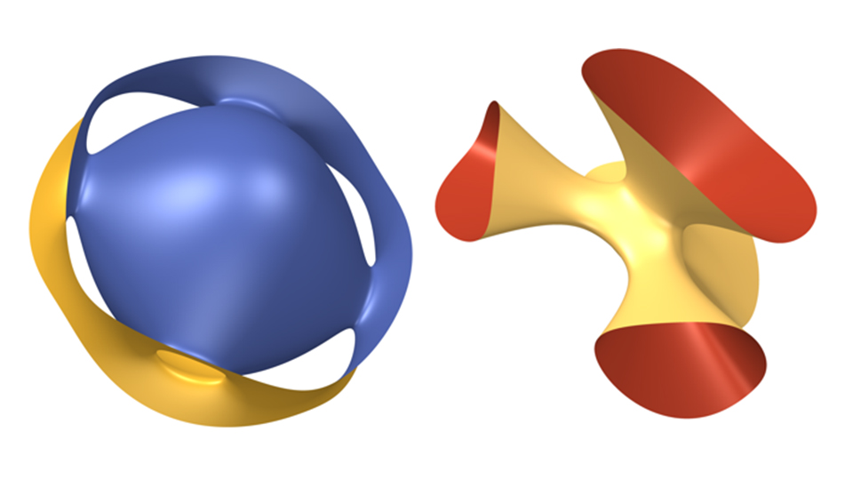Surfaces in 3D space that share geometric properties and can be described by one equation. Image courtesy of Dr Artie Prendergast-Smith.