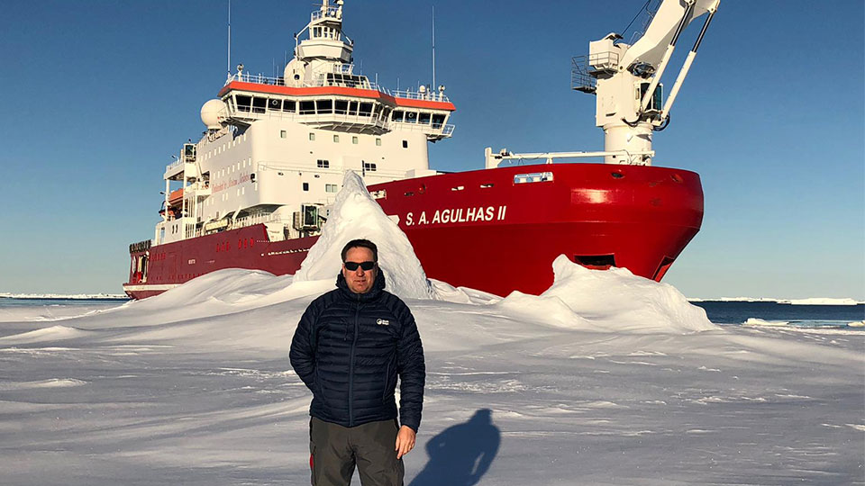 Dr Jeff Evans with the S. A. Agulhas II.