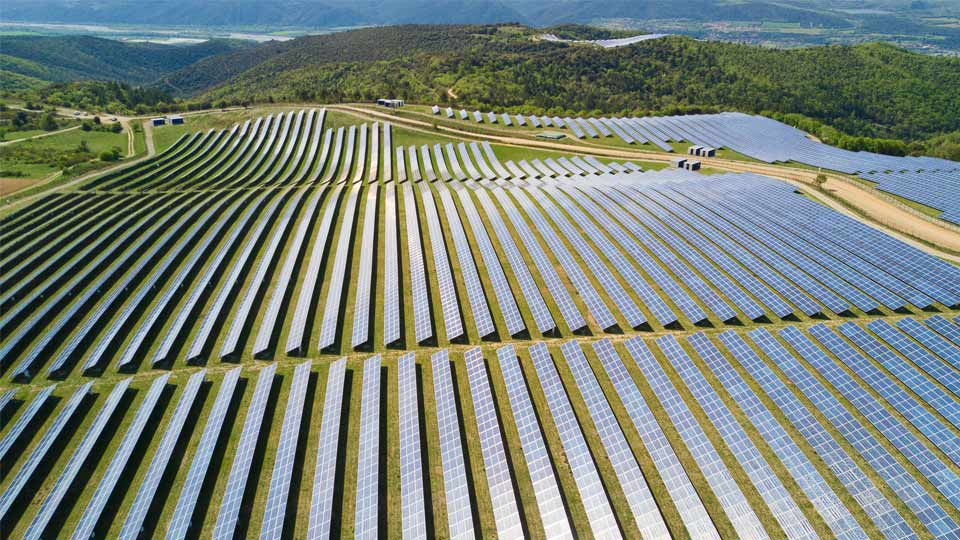 A field of solar panels.