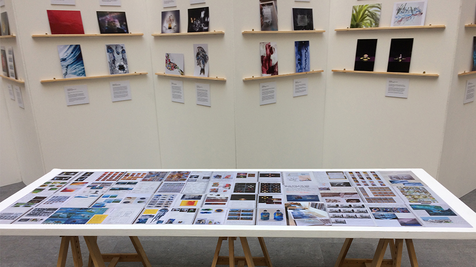 Photo of the plastic exhibition at DEFRA HQ, displayed on walls and a table