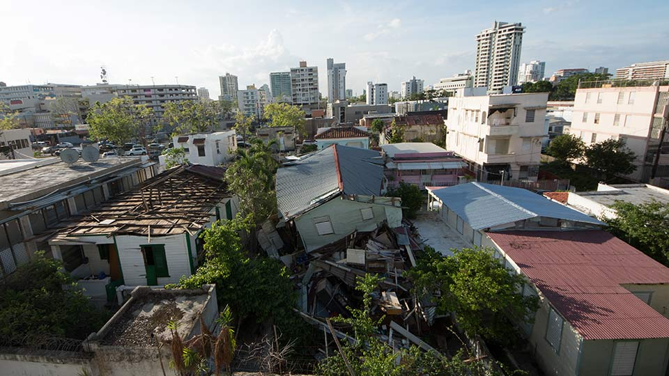 Damage from Hurricane Maria, San Juan, Puerto Rico. Source: Getty Images.