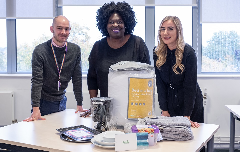 Pictured from the left is Loughborough Students' Union Welfare and Diversity Executive Officer, Matt Youngs; the University's Head of Student Wellbeing and Inclusivity, Veronica Moore; and Alice Springthorpe from Dunelm.