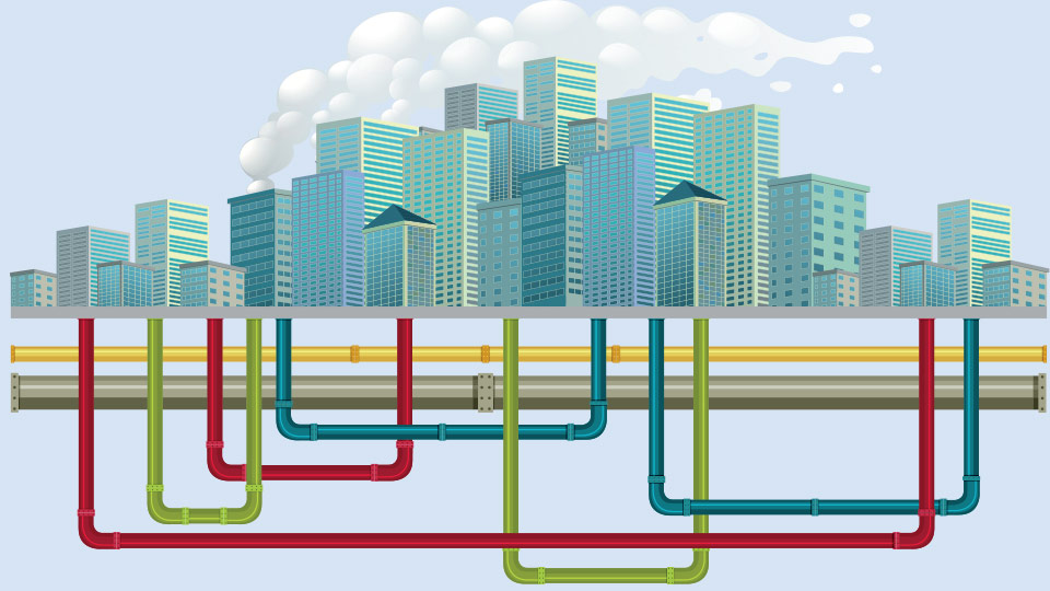 Illustration of pipes under a city.
