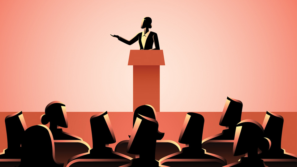 Politician on stage illustration.