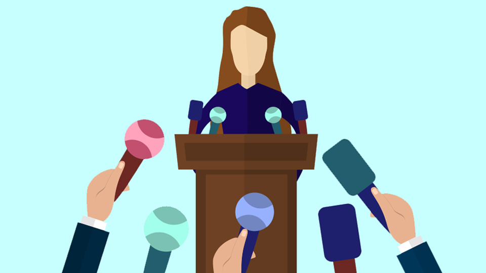 A vector of a woman at a podium with media in front of her