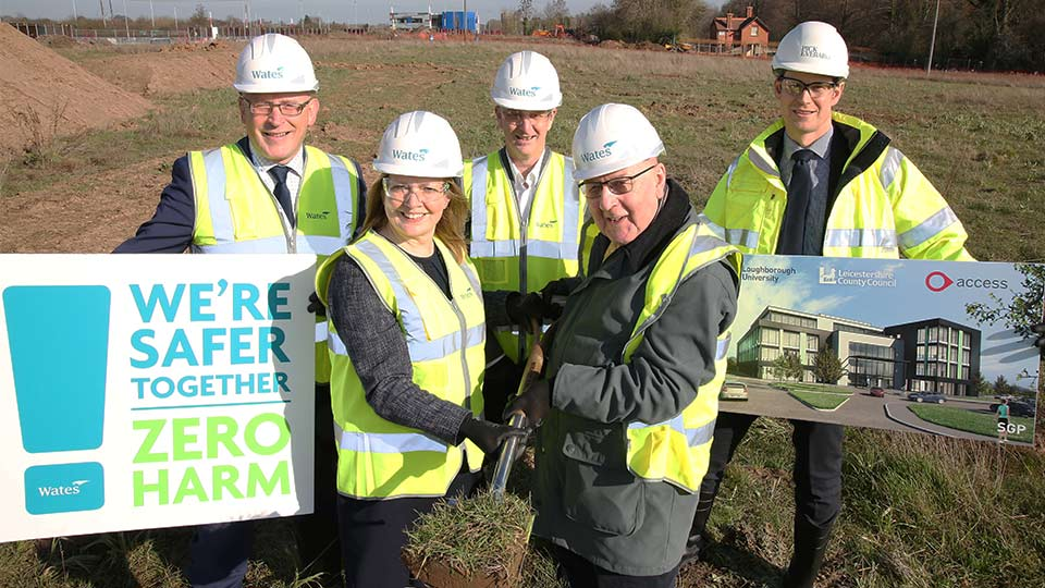 County Council deputy leader Byron Rhodes, front, right, with Professor Tracy Bhamra, Pro-Vice Chancellor (Enterprise) at Loughborough University signal the start of work on The Access Group's new HQ at the university's science and education park